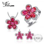 JewelryPalace Gleaming Created Ruby Flower Shape Ring Pendant <b>Earring</b> Jewelry Set 925 Sterling <b>Silver</b> Fine Jewelry for women