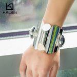 Kalen Exaggerated Style Stainless Steel Bangle Women <b>Jewelry</b> <b>Accessories</b> Wide Long Fashion Bangle Personalized New Design Bangle