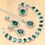 925 <b>Silver</b> Bridal Jewelry Sets Green Zircon White CZ Docoration For Women Weeding Earrings Pendant Rings <b>Bracelet</b> Necklace Set