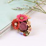 Winter Garden Series Bohemian Enamel Pink Flower Crystal Ring Prong Stone Ring For Woman European Romantic <b>Jewelry</b>