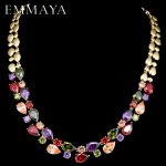 EMMAYA Stunning Big Carat Round CZ Crystal Necklace Luxury Bridal Party <b>Jewelry</b> For <b>Wedding</b> Evening