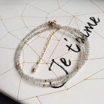 Lii Ji Natural Labradorite 2mm Faceted Beads 925 sterling <b>silver</b> 18K Gold Color Choker Shining <b>Necklace</b> 40cm