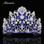 Minmin Romantic Simulated Pearl Flower Queen Tiaras and Crowns Blue Crystal Silver Color Bridal Wedding Hair <b>Jewelry</b> MHG111