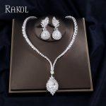 RAKOL Camellia Austrian Blue Crystal Semi-precious Stone Pendant <b>Necklaces</b> Chain Earrings <b>Jewelry</b> Sets For Women Wedding