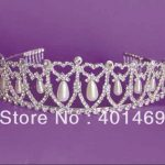Hot Diana royal bridal <b>wedding</b> silver rhinestone pearls hair crown tiara headwear ornament fashion <b>jewelry</b> accessories free ship
