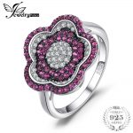 JewelryPalace Flower 0.78ct Created Ruby Pave Ring 925 Sterling <b>Silver</b> <b>Jewelry</b> for Women Fashion <b>Jewelry</b> Elegant Gift hot sell