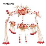 High-end new Chinese bride wedding <b>jewelry</b> Vintage show Wo clothing costume headdress Red <b>handmade</b> phoenix accessories HP024