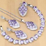 Natural <b>Silver</b> 925 Jewelry Sets Purple Cubic Zirconia White Crystal Beads For Women Earrings/Pendant/Necklace/Rings/<b>Bracelet</b>