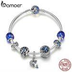 BAMOER Authentic 925 <b>Sterling</b> <b>Silver</b> Sparkling Star and Moon Blue Enamel Bracelets & Bangles for Women <b>Silver</b> <b>Jewelry</b> SCB801