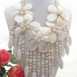 5Strds White Pearl&Shell Flower&Coral Statement <b>Necklace</b>