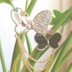 Colorful enamel opal chain tassel butterfly/bow large brooch pins/Korean luxury <b>jewelry</b> blazer <b>accessories</b> wholesale/broches/big