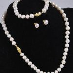 CHARMING SET OF 9-10MM SOUTH SEA ROUND WHITE PEARL NECKLACE BARCELET EARRING925silver