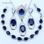 L&B Dazzling 925 Sterling <b>Silver</b> Blue Created Garnet Zircon Women Jewelry Set <b>Bracelets</b> Pendant Necklace Drop Earrings Rings