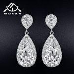 MDEAN White Gold Color Dangle Earrings for Women <b>Wedding</b> Drop Earrings Engagement AAA Zircon <b>Jewelry</b> Boucle D'oreille MSE040