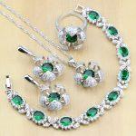 Flower Shaped 925 Sterling <b>Silver</b> Jewelry Green Zircon White CZ Jewelry Sets Women Earrings/Pendant/Necklace/Rings/<b>Bracelet</b> T225