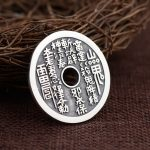 FNJ 925 Silver Round Flat Pendant Good Luck Buddha Coins 100% Pure S925 Solid Thai Silver Pendants for Women Men <b>Jewelry</b> <b>Making</b>