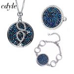 Cdyle Fashion <b>Jewelry</b> Set Blue Gem Women <b>Necklace</b> Ring Bracelet Sets Crystals From Swarovski Bridal Jewellery Set Lady Bijoux