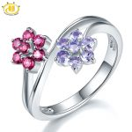 Hutang Natural Gemstone Tanzanite Garnet Wedding Ring Solid 925 Sterling <b>Silver</b> Flower Gemstone Fine Fashion Stone <b>Jewelry</b> New