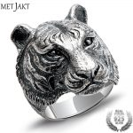 MetJakt Punk Rock Domineering Tiger Rings Solid Real 925 <b>Sterling</b> <b>Silver</b> Ring for Cool Men Vintage Thai <b>Silver</b> <b>Jewelry</b>