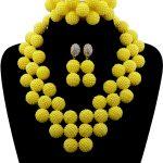 2017 New Arrival Yellow African Beads Jewellry Set <b>Handmade</b> Plastic Balls Nigerian Wedding Beads Necklace <b>Jewelry</b> Set Bride10076