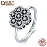 BAMOER Genuine 925 Sterling Silver Heart Pave Clear CZ Flower Finger Rings for Women Luxury Sterling Silver <b>Jewelry</b> Gift PA7631