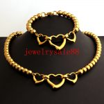 <b>Handmade</b> Gold Tone 8mm Wide Round Ball With Romantic Heart Girl's Stainless Steel Necklace&Bracelet <b>Jewelry</b> Sets 18/8inch