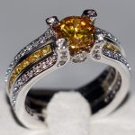 Size 5-11 Top Sell Fashion <b>Jewelry</b> 925 Sterling Silver Round Cut Gold 5A CZ Zirconia Birthstone <b>Wedding</b> Women Bridal Ring Set