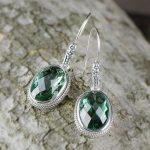 L&P Women Vintage Green Crystal Dangle Earrings 925 <b>Sterling</b> Sliver Handmade Dangle Earrings <b>Jewelry</b> Girl Gifts