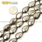 Gem-inside Natural Flat Drop Teardrop Drip Pyrite Beads For <b>Jewelry</b> <b>Making</b> 6-13mm 15inches DIY Jewellery
