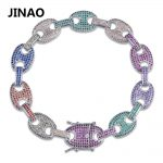 JINAO Hip Hop Rock <b>Jewelry</b> Rainbow Zircon Bracelets Gold <b>Silver</b> Plated Iced Out Puff Marine Anchpr Chain Link Bracelets 7 8 inch