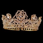 Gold Color Bridal Tiaras Crowns Full Crystal Rhinestone Rose Flower <b>Wedding</b> Hairband Crown for Women Hair <b>Jewelry</b> Accessories