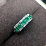 natural green emerald gemstone ring in 925 sterling <b>silver</b> fine <b>jewelry</b> for women ,Real zambia emerald Ring with box