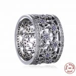 Luxury brand 100% 925 sterling silver Clear CZ purple Daisy Ring compatible with panqiou <b>jewelry</b> For Women <b>Wedding</b> Ring gift