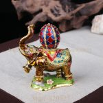 Elephant Jeweled Trinket Box Elephant Box with Faberge Egg on Back <b>Handmade</b> Crystal Metal Ring Holder Elephant Wedding Gifts