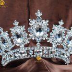 Royal Flower Pageant Crown Tiara Clear Rhinestone Crystal Women Headband Brides <b>Wedding</b> Parade Costumes Hair <b>Jewelry</b>