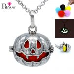 Aromatherapy <b>Jewelry</b> <b>Antique</b> Silver Big Pumpkin Hollow Locket Necklace Essential Oil Diffuser Pompons/Glow Beads/Chime Ball