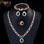 Pera 4 Piece Set Big Cubic Zirconia <b>Fashion</b> Women Gold Color Round Green Stone African Dubai Wedding Party <b>Jewelry</b> Sets J087