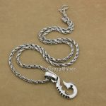 925 Sterling <b>Silver</b> Fish Hook Mens Biker Punk Pendant 9V108A Sterling <b>Silver</b> <b>Necklace</b> 24″