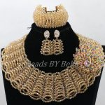 Terrific New Chunky Layered Champagne Gold Nigerian Beads <b>Jewelry</b> Set Wedding African <b>Jewelry</b> Sets <b>Handmade</b> Free Shipping ABK651