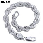 JINAO Gold <b>Silver</b> Color Plated Iced Out Twisted and Oval Link Bracelet Micro Pave Zircon Men Women Bracelets Bling Party <b>Jewelry</b>