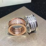 Brand <b>jewelry</b> Fashion luxury <b>wedding</b> titanium steel three spring full CZ ring couple engagement ring logo and gift