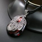 FNJ 925 Silver Leaf Pendant Red Stone Real S925 Solid Original Silver Water Drop Statement Pendants for Women <b>Jewelry</b> <b>Making</b>