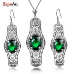 Szjinao Brand Vintage Jewelry Sets Pattern Oval Design Emerald Long Pendant Jewelry 925 <b>Silver</b> <b>Earrings</b> Necklace Set For Women