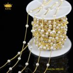 Fashion Chains Craft Earrings,5Meters 4mm White Pearl Plated Golden Wire Wrapped Links Round Pearl Beaded Chains <b>Supplies</b> HX145