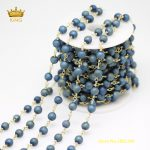 Druzy Agates Rosary Chains Findings,5meters 6mm Blue Green Titanium Drusy Achate Round Beads Chains Making Necklace <b>Supply</b> ZJ127