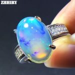 ZHHIRY 925 <b>Sterling</b> <b>Silver</b> Genuine Big Opal Ring Fire Color Opal Natural Gemstone 10*14mm Rings Women Fine <b>Jewelry</b>