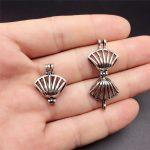 10pcs <b>Antiqued</b> Silver Seashell Beads Cage Necklace Bracelet <b>Jewelry</b> Making Pearl Cage Locket Pendant Perfume Diffuser <b>Jewelry</b>