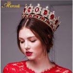 Mansati Luxurious Big Round Crown Red Rhinestone Gold Crowns and Tiaras <b>Wedding</b> Bridal Crystal Tiara Queen Crown Head <b>Jewelry</b>