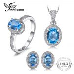 JewelryPalace Classic 3ct Genuine Swis Blue Topaz Halo Ring Pendant Necklace Stud Earrings <b>Jewelry</b> Sets 925 <b>Sterling</b> <b>Silver</b> 45cm