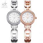 Shengke Brand Fashion Women Wirstwatches Hollow Quartz Gold Crystal Dial <b>Silver</b> Watches Girl <b>Bracelet</b> Watch Reloj Mujer 2017 SK
